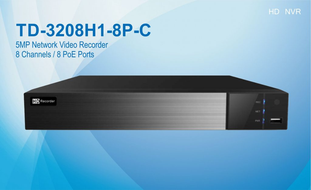 TD-3208H1-8P-C 8CH 5MP HD NVR with 8 port PoE